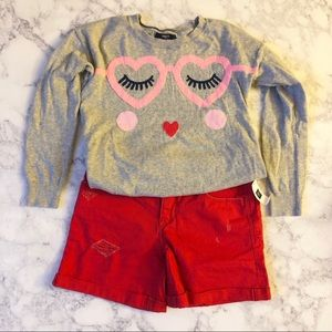 GAP Girls Red Distressed Shorts Bottom Jeans